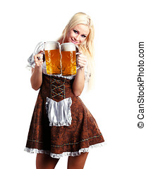 tiroler woman - very beautiful woman in tiroler oktoberfest...
