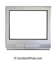 Analog cathode ray tube television on white background