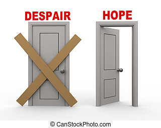 3d despair and hope doors - 3d illustration of closed door...