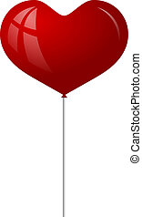 Red balloon in the form of heart