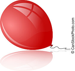Red balloon with reflection
