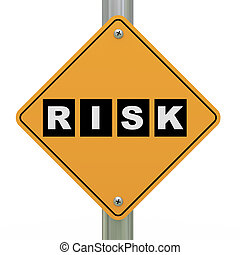 3d road sign risk - 3d illustration of yellow roadsign of...