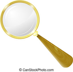 Magnifying glass in a frame of yellow metal