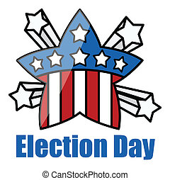 Retro Star Badge - Election Day - USA theme - Democracy -...