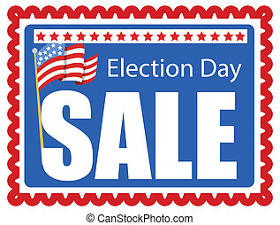 Election Day Sale Banner Design - Stamp Style Background for...