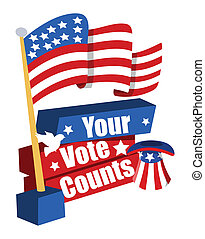 Election Day Banner with USA Flag - your vote counts -...