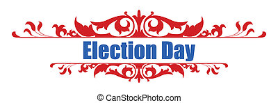 Election day decorative text banner Vector Illustration