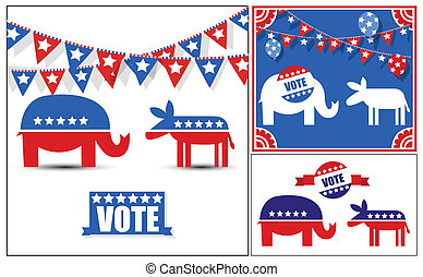 USA Voting Day Symbol Vectors