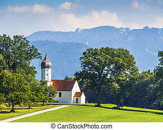 chapel on grean meadow - Typical chapel on grean meadow with...