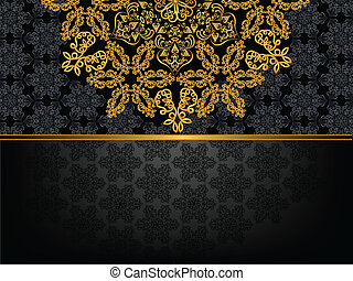 rectangular frame with pattern and a golden flower -...