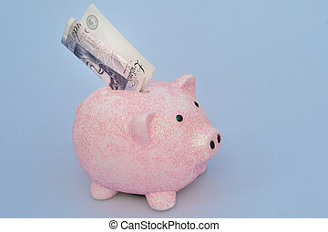 Piggy Bank with note