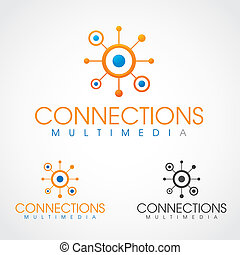 Connections Symbol - Connections multimedia logo template.