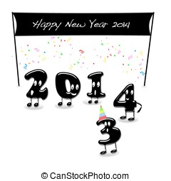 Happy New Year 2014. - Illustration with a Happy New Year...