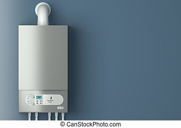 Home gas-fired boiler. The installation of gas equipment....