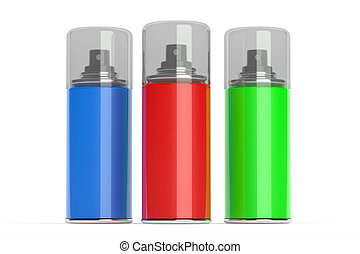 Aerosol spray cans with color paints. Isolated on white...