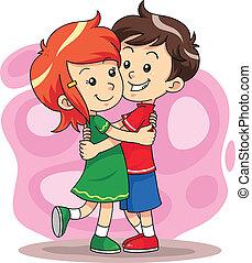Hug Play 1 - Children playing hug each other.