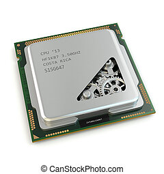 CPU Gears inside processor on white isolated background 3d