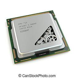 CPU, ingranaggi, dentro, processore, bianco, isolato, fondo