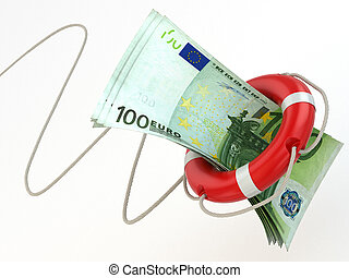 Financial aid. Life preserver and euro. 3d