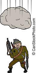 Boulder Falling on Terrorist - Large boulder falling on...