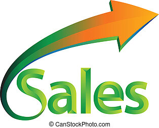 Sales is up - Illustration of the word sales
