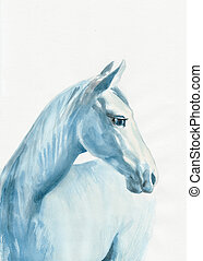 azul, caballo
