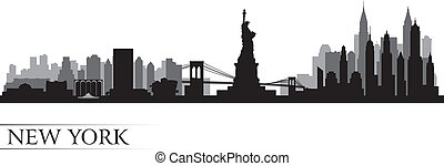 New York city skyline detailed silhouette Vector...