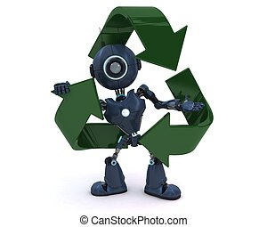Android with recycling symbol - 3D Render of an Android with...