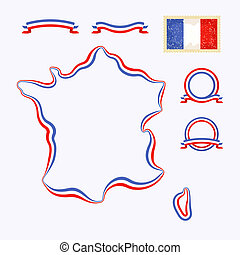 Colors of France - Outline map of France Border is marked...