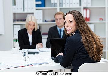 mujer de negocios, reunión