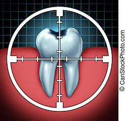 Fight Cavities - Fight cavities as a tooth cavity close up...