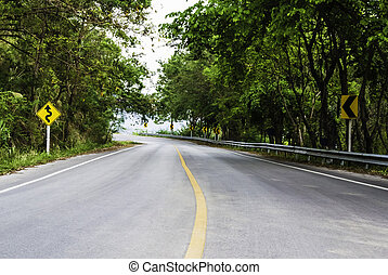 highway curve road with sign - highway curve road with...
