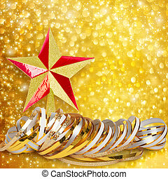 Gold paper horizontal ribbon and Christmas star on abstract...
