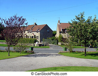 Suburban neighborhood England - Scenic view of suburban...