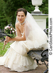 Newlywed pretty bride - Portrait of beautiful newlywed...