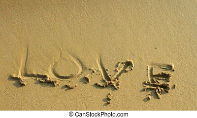 Word on the sand and sea wave