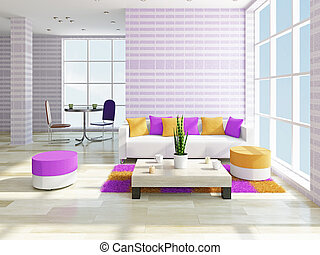 Livingroom with furniture - Livingroom with a sofa and a...
