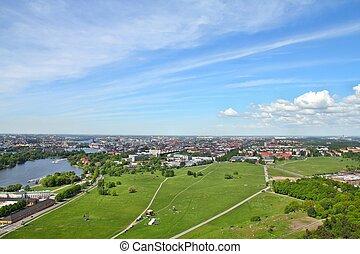 Stockholm park - Stockholm, Sweden Aerial view of the...