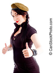 pretty young female posing with her thumbs up isolated on...