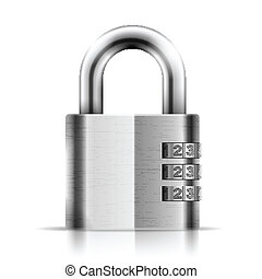 Steel Closed Isolated Padlock. Eps10 vector illustration