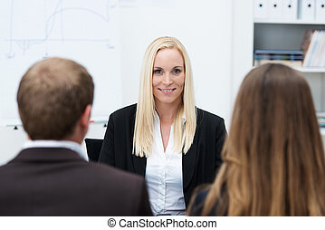 Businesswoman being interviewed for a post - Smiling...