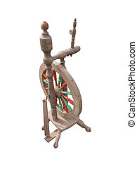 Spinning wheel - A photo of an old spinning wheel isolated...