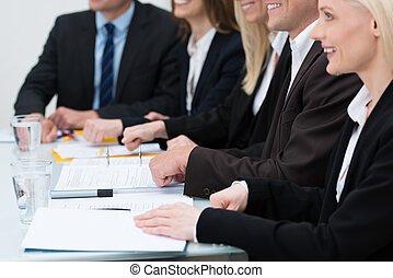 Businesswoman in a meeting - Close up cropped view of an...