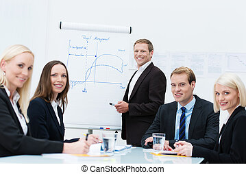 Successful business design team with diverse young men and...