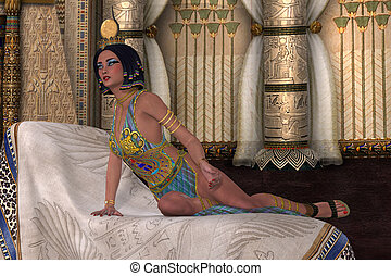 Egyptian Lady - An Egyptian Queen listens intently as the...