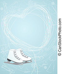 Ice skates with a heart symbol - Illustration of a pair of...
