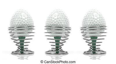 Golf Breakfast - Egg shaped golfballs in in egg cups on a...