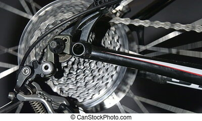 Bike detail in motion - Rear derailleur on a mountain bike...