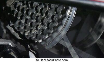 Gears on mountain bike in motion