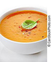 close up of a squash soup bowl